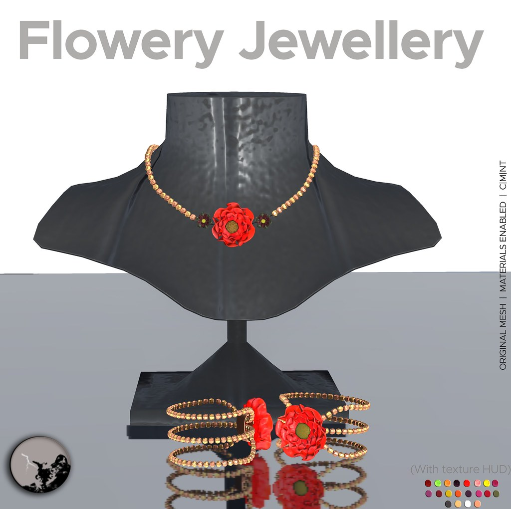 Flowery jewellery 50 % OFF for Retail Therapy weekly sale - SecondLifeHub.com