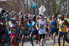 2017 Boston Marathon Start Line - Americans Galen Rupp and Keflezighi