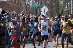 2017 Boston Marathon Start Line - Americans Galen Rupp and Keflezighi