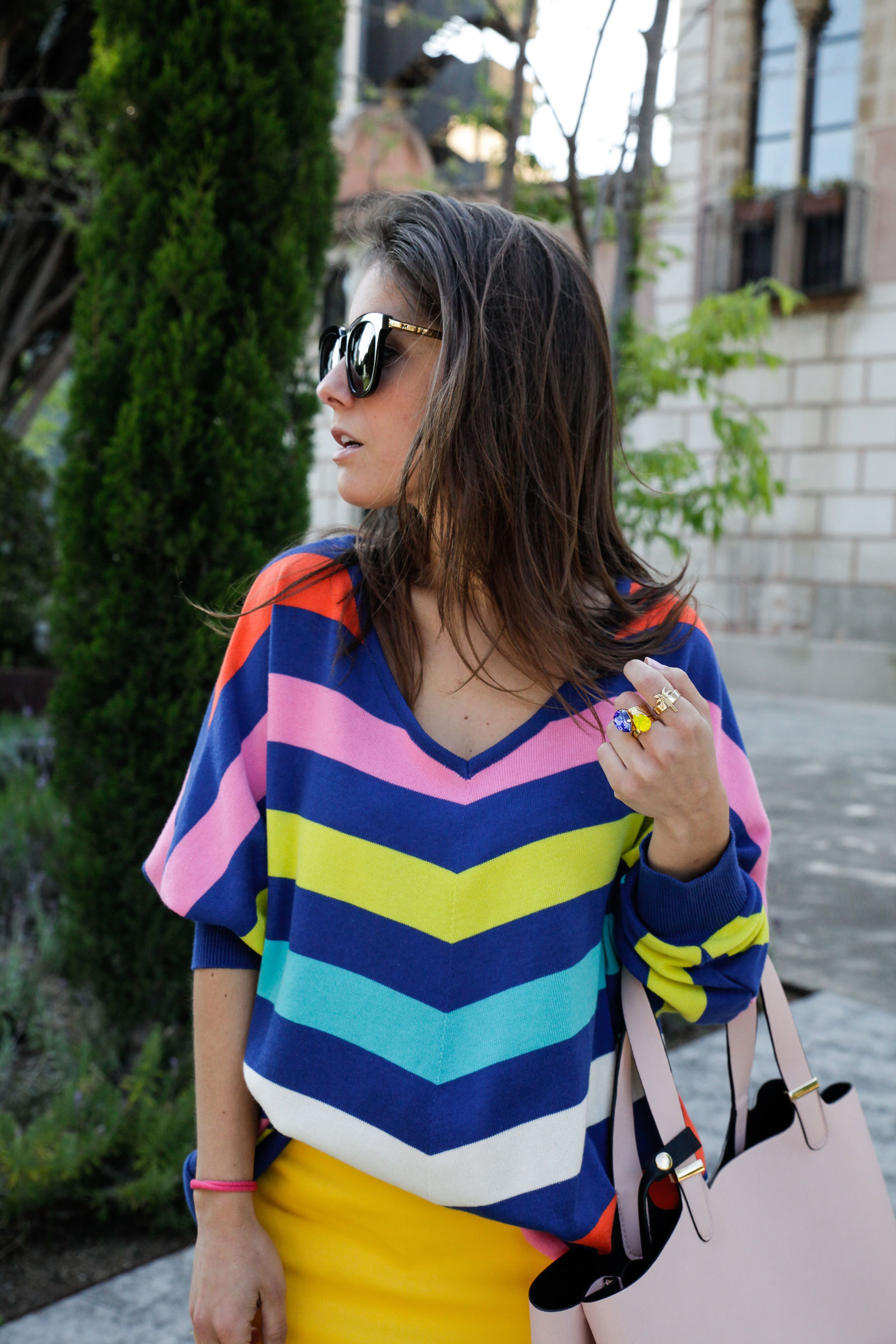 09_sweater stripes color yellow skirt_theguestgirl