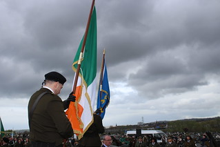The lowering of the flags at Belfast Milltown Cemetary