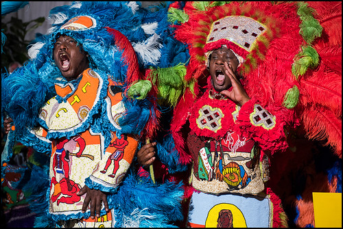 9th Ward Black Hatchets  Mardi Gras Indians in the 'OZ Hospitality Tent. Saturday, April 29, 2017 - Jazz Fest Day 2. Photo by rhrphoto.com.