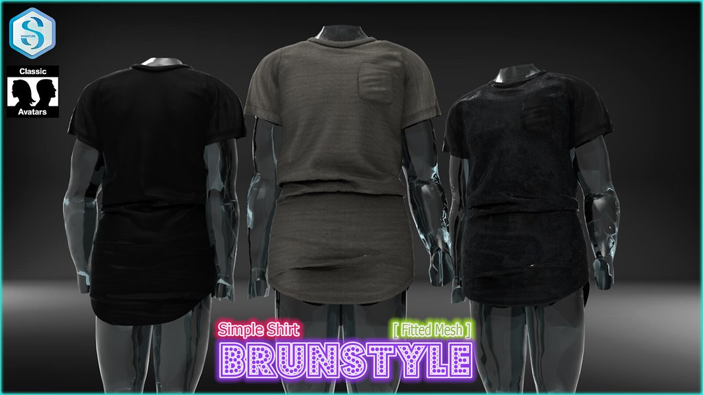 [BrunStyle] Simple Shirt (Fitted Mesh) - SecondLifeHub.com