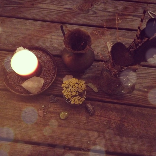 Sitting on my porch with the faint smell of incense, my stones, and yarrow- Sally's favorite herb . Meditating. Clearing energy and feeling grateful and blessed.