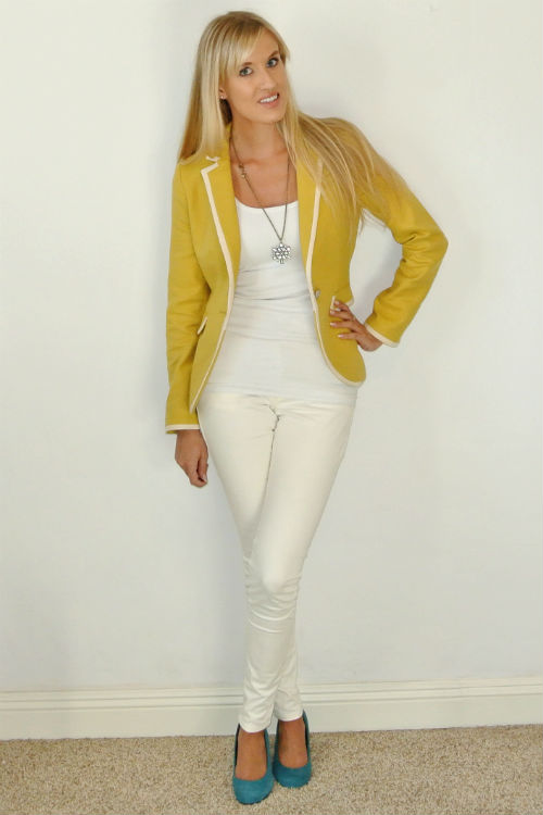 Outfit: all white yellow blazer teal pop