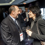 Denis Lebel talks with Doris Leuthard at the Ministers´ Dinner on May 22