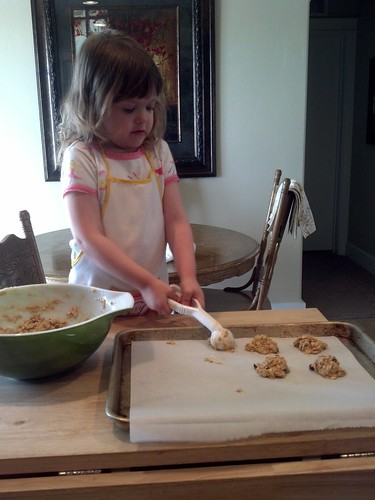 Making banana oatmeal cookies