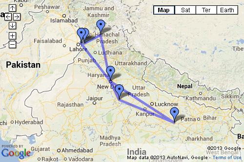 Open India Itinerary Map in Google Maps