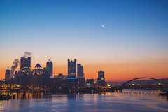 The moon over Pittsburgh from the West End Bridge HDR