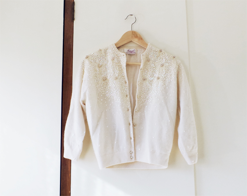 cream bead + sequin vintage cardigan b
