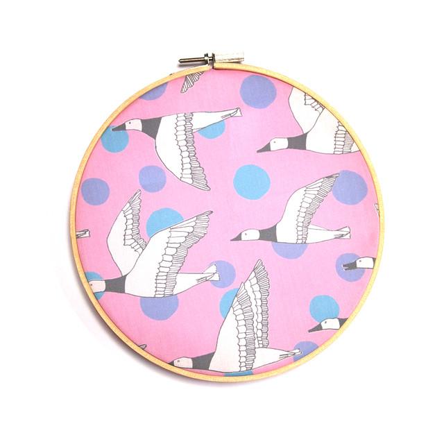migratory birds - grey, pale pink, lavender, sky blue