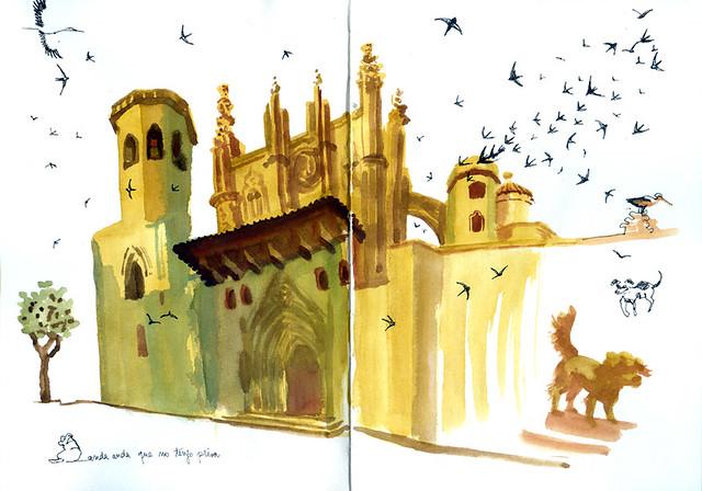 huesca-catedral-acuarela