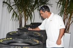 Juan Pablo Montoya signing tires