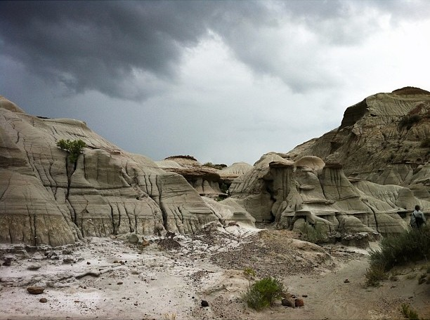 Badlands at Dinosaur Provincial Park. Moments later it was bucketing down and we were drenched. #badlands #dinosaurprovincialpark #landscape #jj_landscapes #alberta #canada