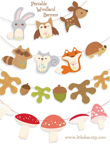 Printable woodland garlands at little dear!
