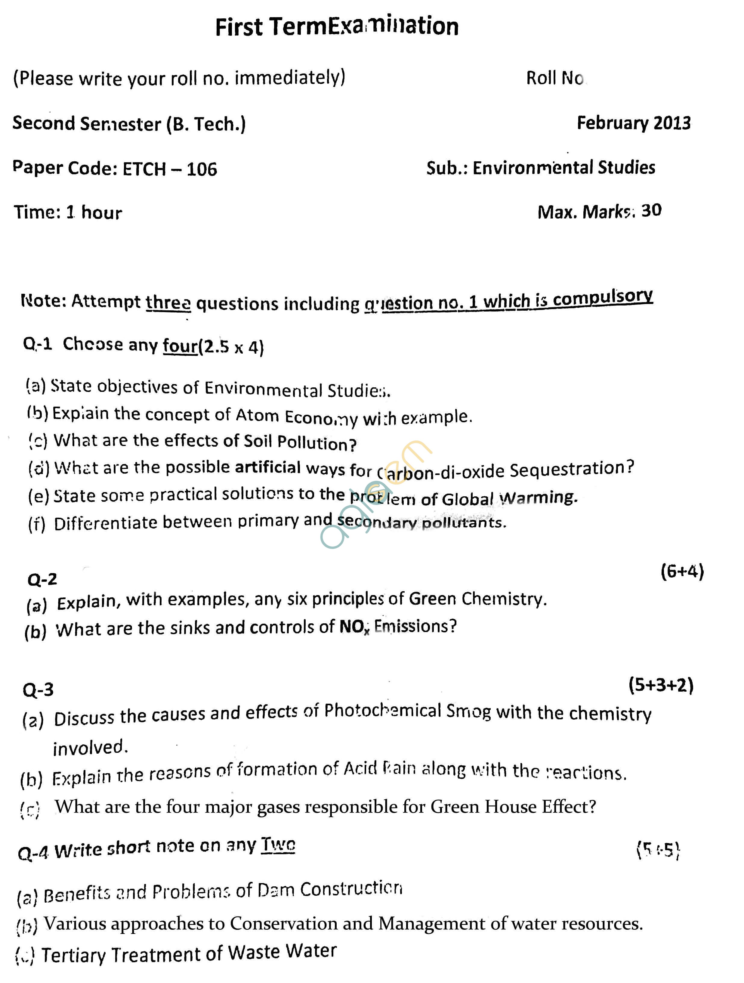 GGSIPU Question Papers Second Semester – First Term 2013 – ETCH-106
