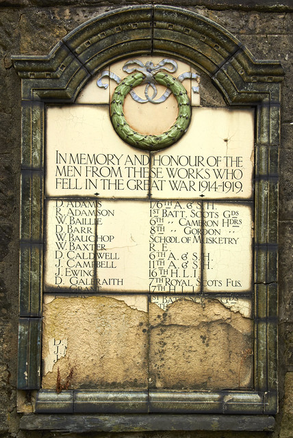 """In memory & honour of the men from these works who fell in the great war 1914-1919 """"VOTE YES SCOTLAND"""""""