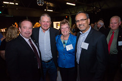 Gary Robinson, Tim Baillie, Susan Sanderson and MLA, Harry Bains.