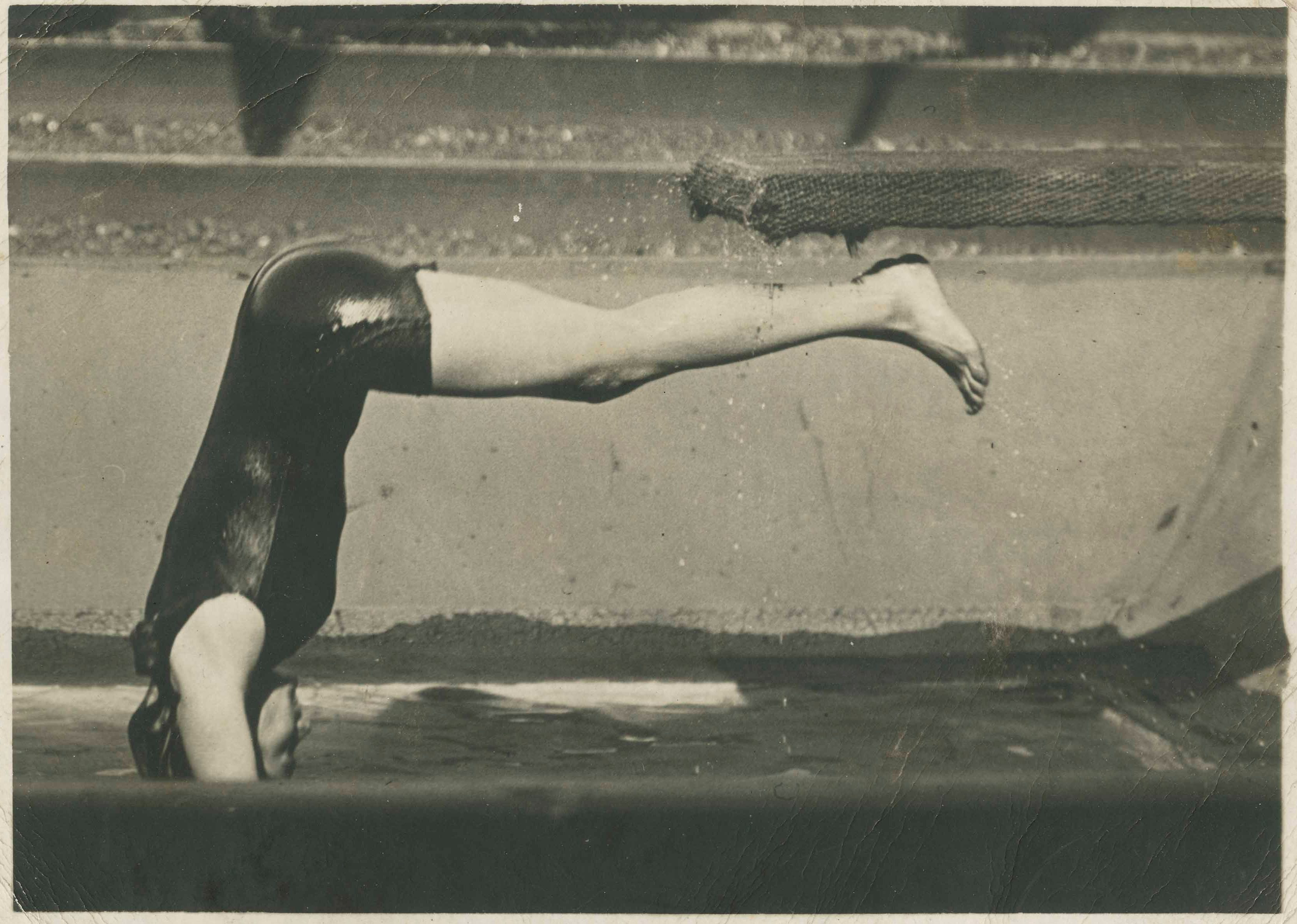 A woman (probably Beatrice Kerr) diving into water
