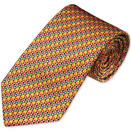 Charles Tyrwhitt Gold multi triangle handmade tie