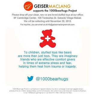 1000 Bearhugs for the children in places devastated by ST Haiyan