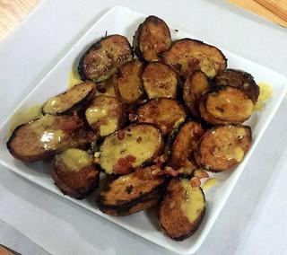 Mustard-Herb Roasted Potatoes w Pancetta & Cider-Mustard Sauce