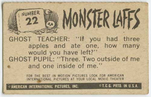1963 Topps Monster Laffs Midgee #22 back