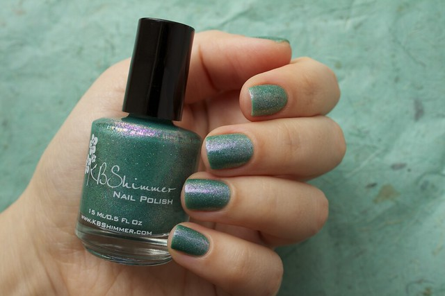 09 KBShimmer Teal Another Tail with 2 coats Eva Mosaic topcoat