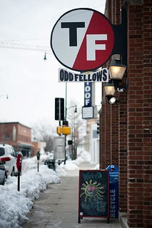 Odd Fellows handmade sign, installed