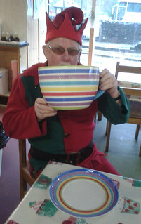 Elf with big cup of tea!