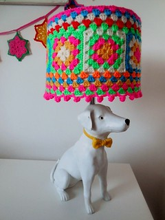 Dog lamp yarn bombed by www.loopyloudesigns.com