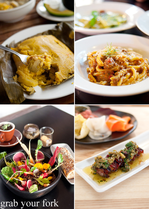 Tamale from Colombia Organik; strozza preti al ragu di carne at Pasta Emilia; smoked wagyu tongue at Nomad; and winter vegetables at In The Annex