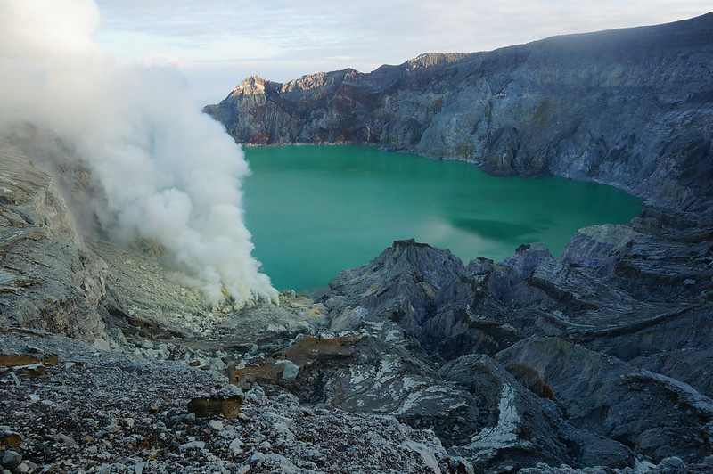 Kawah Ijen crater rim with its acid crater lake
