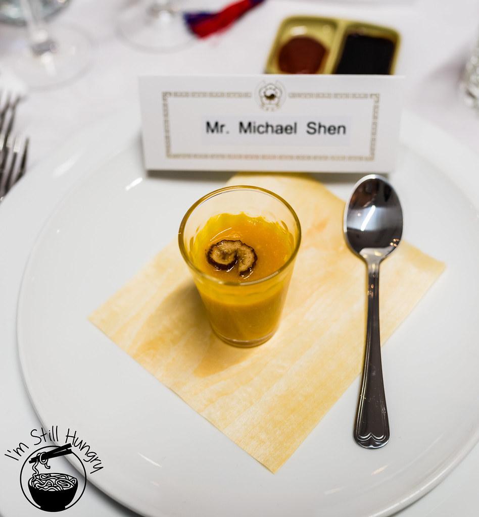 Hobak juk - pumpkin congee shot korean banquet showcase