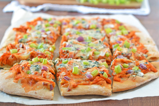 Buffalo Chicken Pizza. Buffalo wing flavor on a pizza crust.