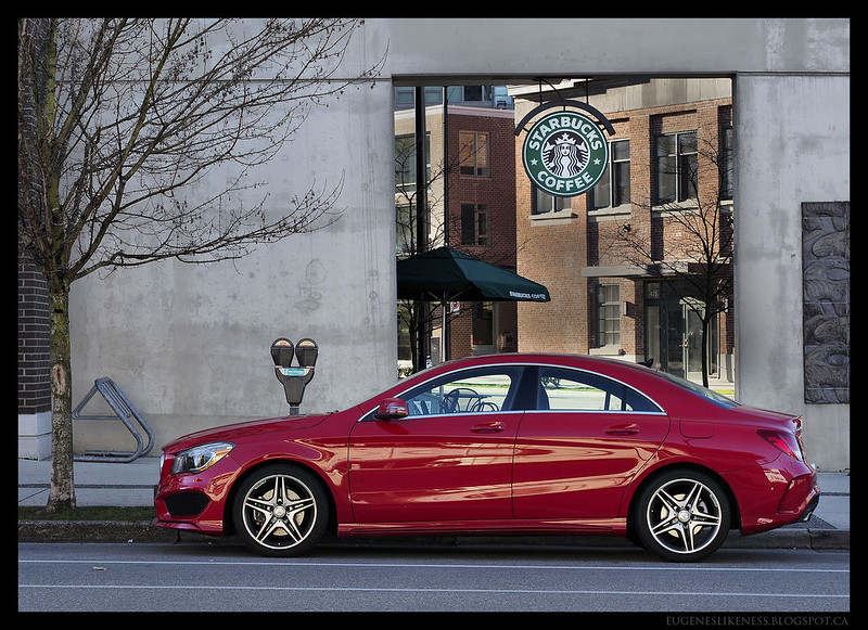 Red Mercedes CLA at Starbucks