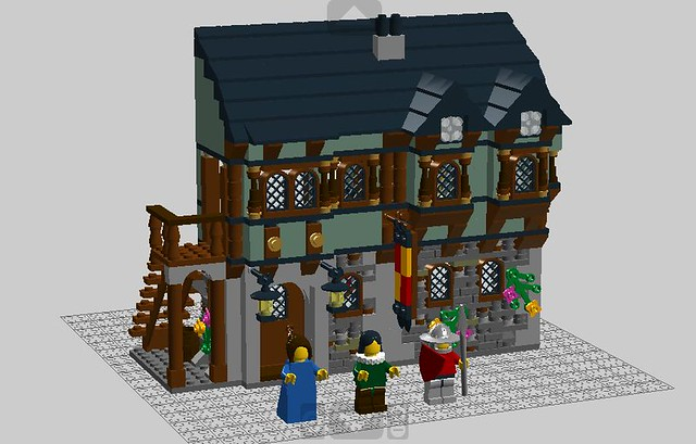 Lego Medieval House medieval market village add on moc - lego historic themes