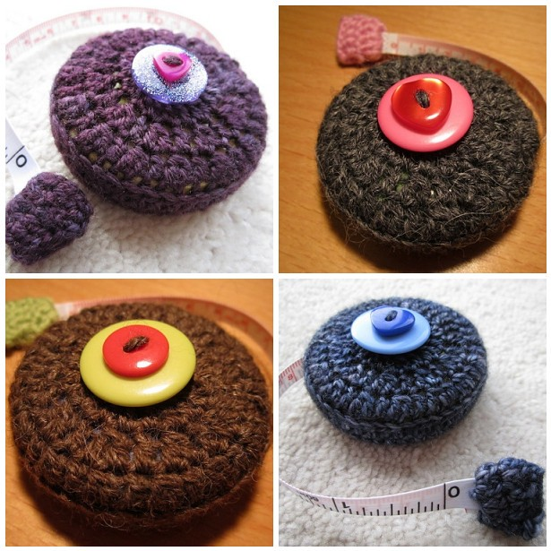 Crocheted tape measure cosy gifts