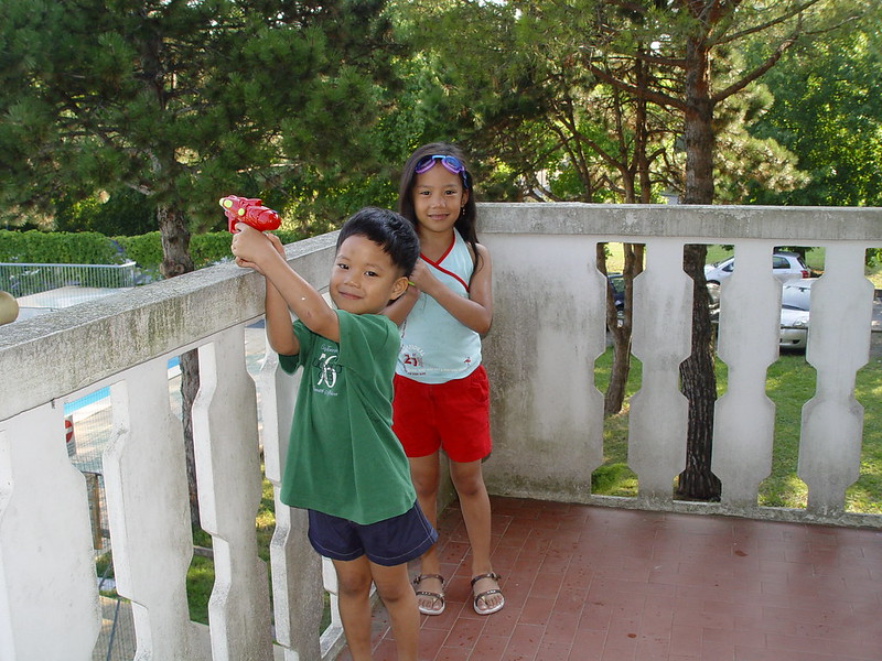 kids at terrace, vacation home