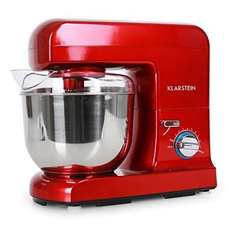 Klarstein Gracia Rossa II robot de Cuisine pâtissier multifonctions (5 litres, 1000W, 10 vitesses, batteur, mixeur, fouet et pétrin) - rouge