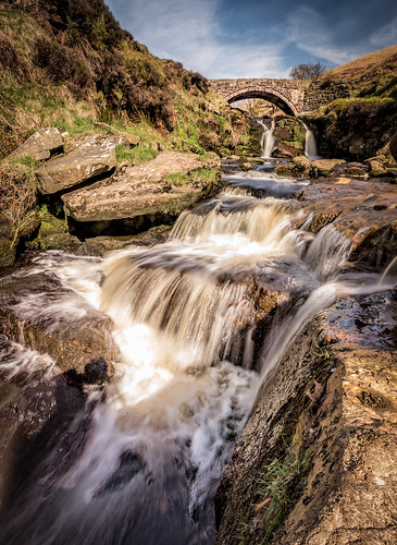 3shireshead cheshire clouds derbyshire landscape morning pannierpool riverdane staffordshire sunshine uk england unitedkingdom gb waterfall water river stream dane bridge rocks