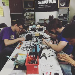 Soldering lab in the downstairs classroom! #omega #studio #school
