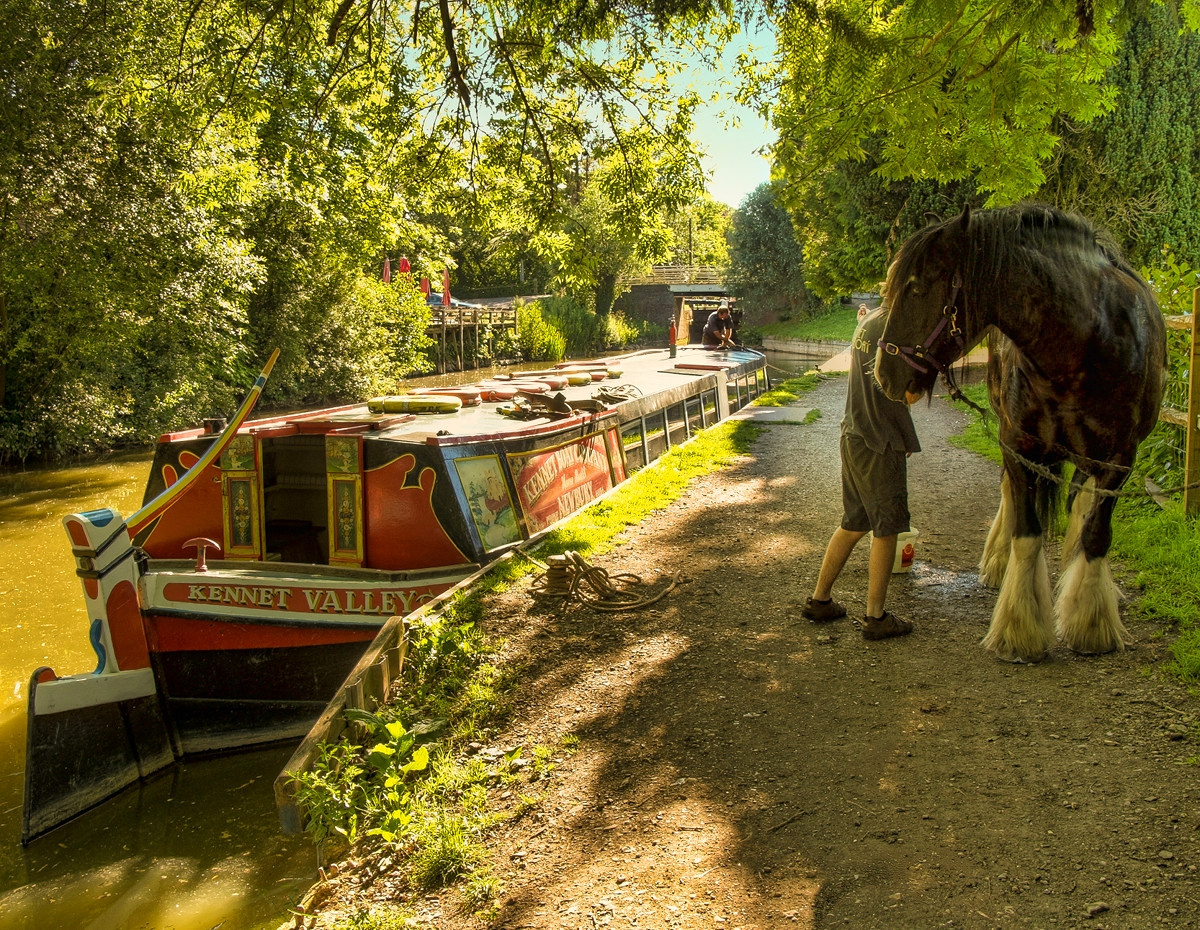 A horse drawn narrowboat on the Kennet and Avon canal at Kintbury in Wiltshire. Credit Anguskirk, flickr