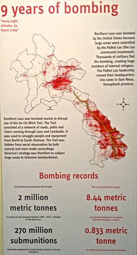 "Red dots are where the US dropped bombs over Laos--during and after the Vietnam war--called the ""Secret War"""