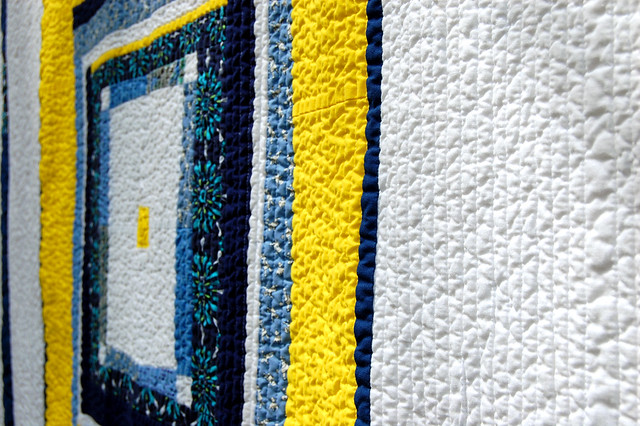 Yellow and Blue quilt detail