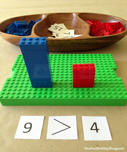LEGO Math Game - Greater Than or Less Than (Photo from One Perfect Day)