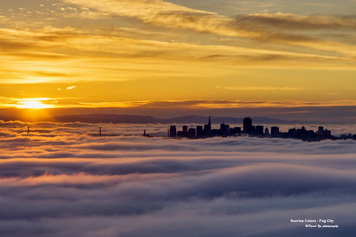 sanfrancisco california city usa colors fog sunrise low sfbay sfist