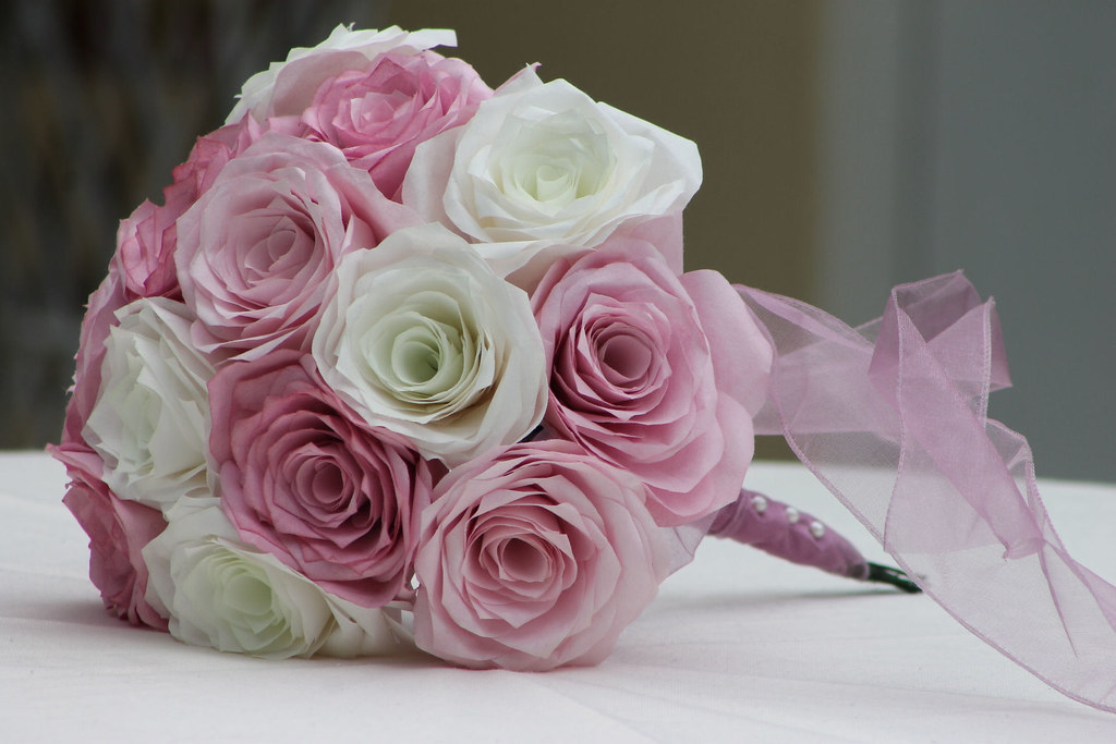 Coffee Filter Rose Bridal Bouquet