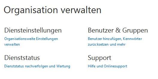 Organisation verwalten (Office 365)