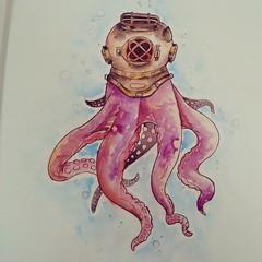 sketch(0.0), figure drawing(0.0), painting(1.0), octopus(1.0), invertebrate(1.0), marine invertebrates(1.0), drawing(1.0), illustration(1.0), pink(1.0), watercolor paint(1.0), organ(1.0),